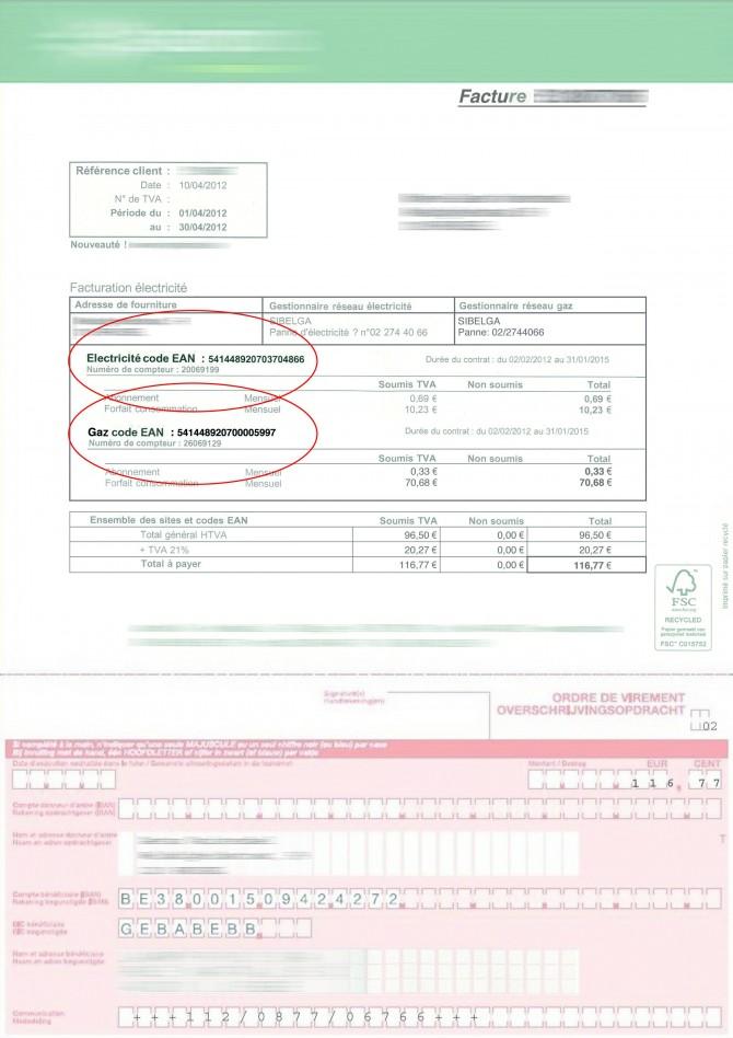 Exemple d'une facture d'énergie reprenant un code EAN (1)