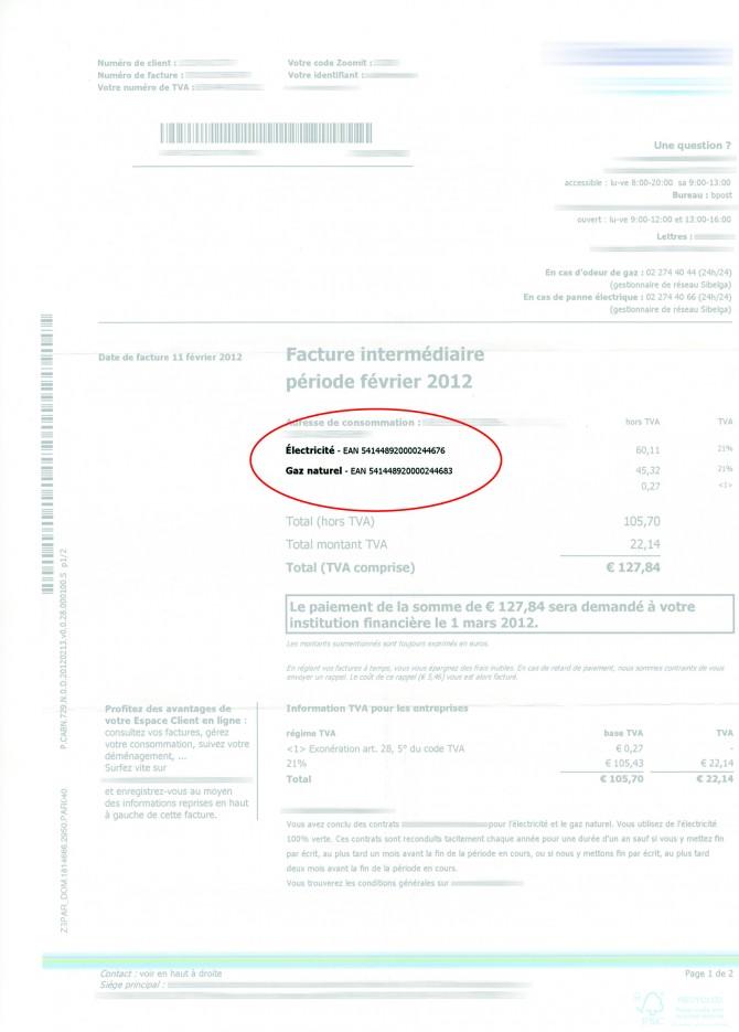 Exemple d'une facture d'énergie reprenant un code EAN (2)